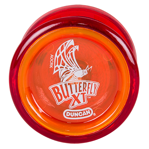 Broad side view of Duncan butterfly XT in red and orange