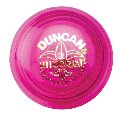 A side view of a fuscia Duncan Imperial yo-yo