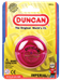 A fuscia Duncan yo-yo inside packaging