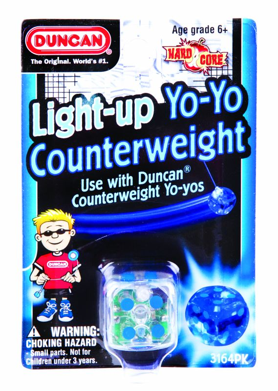 A blue light up die shaped counterweight for Duncan yo-yos