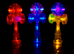 Group of Duncan Torch light-up kendamas in the dark