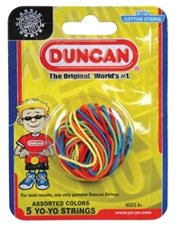 A package containing red, orange, yellow, green, and blue Duncan yo-yo strings