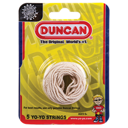5 white Duncan yo-yo strings in packaging
